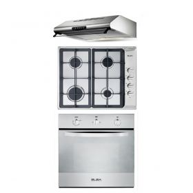 Elba Built-In Hob 60 cm 4 Gas Burners Stainless + Built-In Gas oven 60 cm with Gas Grill and Fan + Flat Hood 60cm 450 m3/h Stainless