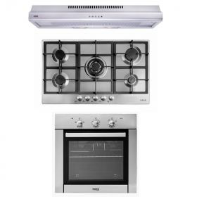 HANS GAS BUILT-IN HOB 5 BURNER AND GAS OVEN 60 CM AND HOOD 90 CM 500 M3/H 9710‐24
