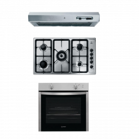 Indesit 90cm Gas Hob cast iron grids+ 60 cm gas oven with electric grill + 90 cm Hood