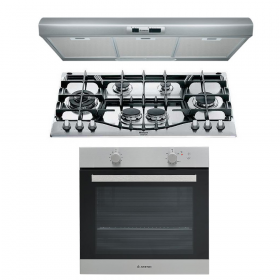 Ariston 60cm Gas Oven With Electric Grill + 90 cm cast iron Gas Hob+ 90Cm Stainless Steel Hood
