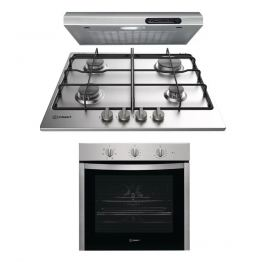 INDESIT BUILT-IN GAS COOKER 60 CM 4 BURNERS STAINLESS STEEL THP 642 IX/I  + Kitchen Hood 60cm 140 m3/h ISLT 65 AS X + Built-In Electric Oven Stainless Steel 60 cm 66 Liter With Grill IFW5530IX