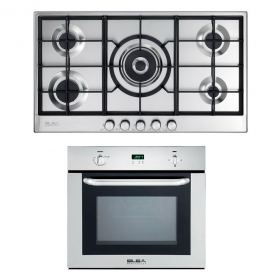 ELBA GAS HOB 90 CM 5 BURNERS SAFETY STAINLESS ELIO 95-545 + ELBA BUILT-IN GAS OVEN 60 CM WITH GAS GRILL AND FAN DIGITAL 512-731X