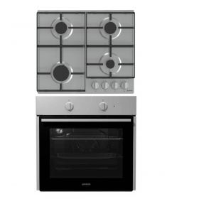 Geronje buit in gas hob 60 cm Stainless steel G640EX + Geronje built in Electric oven 60 cm stainless steel BO615E01XK