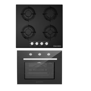 Ecomatic Built In Hob 60 Cm 4 Burners +ECOMATIC BUILT-IN GAS OVEN 60 CM WITH GAS GRILL & FANS STAINLESS 67 L