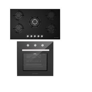 ECOMATIC BUILT-IN CRYSTAL HOB 90 CM 5 GAS BURNERS BLACK + ECOMATIC BUILT-IN GAS OVEN 60 CM WITH GAS GRILL & FANS STAINLESS 67 L