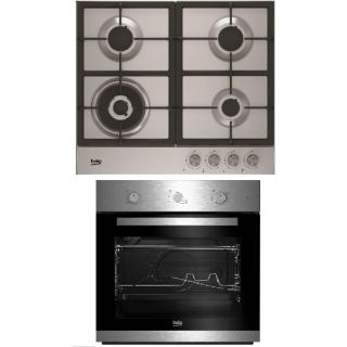 Beko Built in Stainless -Cast Iron Gas Hob – 60cm + Built In Gas Oven66 Litre- 60cm