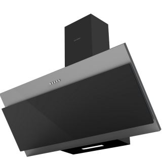 Ecomatic hood 90 cm DECORATIVE, tilted crystal black x stainless steel - 3 speeds x 650 m / hr  H9106EBX