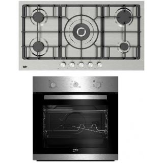 Beko Built in Stainless-Cast Iron Gas Hob – 90 cm + Built In Gas Oven66 Litre- 60cm