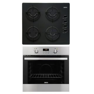 Zanussi Built-In Gas Hob, 4 Burners, Black Glass, 60 cm + Built-In Gas Oven With Grill, 60 cm, Stainless Steel