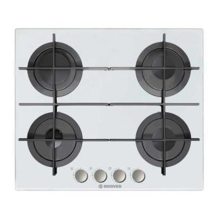 HOOVER BUILT-IN HOB GAS 60 CM 4 BURNERS CAST IRON WHITE GLASS HGV64SMTCGW