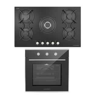 Ecomatic crystal gas hob 90 cm black + gas oven 60 cm with gas grill &fan