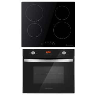 Ecomatic  electric hob 60 cm  black ceramic + electric oven with grill & fan 60 cm
