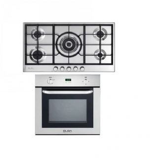 ELBA GAS HOB 90 CM 5 BURNERS SAFETY STAINLESS ELIO 95-545 + ELBA BUILT-IN GAS OVEN 60 CM WITH GAS GRILL AND FAN DIGITAL E-512-731X