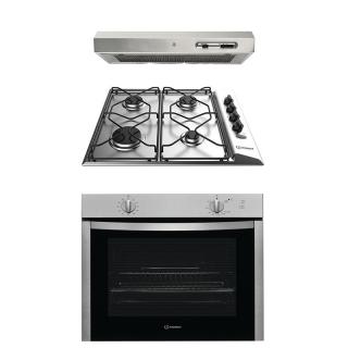 Indesit - 60cm built in set (gas oven + gas hob + flat hood)