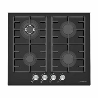 TORNADO Built-In Hob 60 x 60 cm 4 Gas Burners In Black Glass Color GHV-M60CCU-G