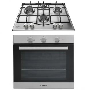 Ariston gs hob 60 cm stainless + electric oven 60 cm 66 litre with electric grill stainless