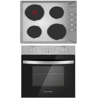 Ecomatic electric hob 60 cm stainless + electric oven 60 cm with distrbuting fan