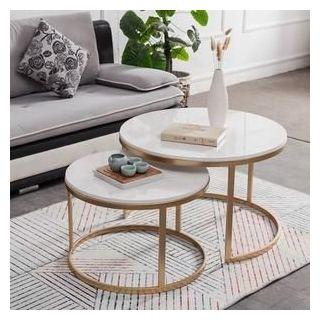 2 interlocking table, electrostatic paint center, white marble 2 center c10501