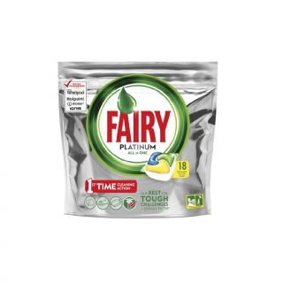 Fairy Platinum All in One Dishwasher Capsules with Lemon Scent - 18 Capsules