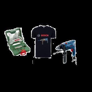 Bosch set of Drill Bits , Set of 33 Pieces , X-Line , 2 607 019 325 + BOSCH DRILL 570 WATT 13MM GSB 570 + bosch T shirt free