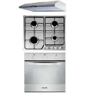 Elba Classic hood, 60 cm, stainless steel + Gas hob, 60 cm, stainless steel + Gas oven 60 cm, Stainless steel  & Cooling Fan