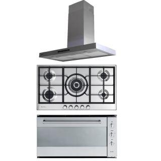 Elba Flat hood, 90 cm, stainless steel + Gas hob, 90 cm, stainless steel + Gas oven 90 cm, Stainless steel & Cooling Fan