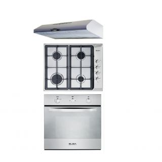 Elba Built-In Hob 60 cm 4 Gas Burners Stainless + Built-In Gas oven 60 cm with Gas Grill and Fan + Flat Hood 60cm 320m3/hr. Stainless
