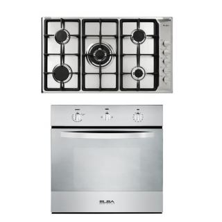 Elba Hob 90 cm gas cast iron grids + Built In Gas Oven With Fan 60cm