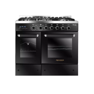 PREMIUM DOUBLE CHEF GAS COOKER 5 BURNERS 60*90 2 HORIZONTAL OVEN STAINLESS STEEL*BLACK PRM6090SB-1GC-511-IDSP-DH