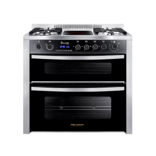 PREMIUM DOUBLE CHEF GAS COOKER 4 BURNERS 60*90 BURNER AMID INFARED STAINLESS STEEL*BLACK PRM6090SS-1GC-511-IDSP-DV-F