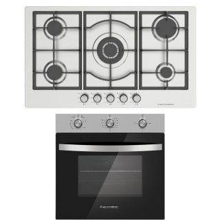 Ecomatic Built-In Hob 90 cm Frontal Control Stainless Steel S973C+Ecomatic Built-in Gas Oven 60 cm With Gas Grill & Fan Stainless Steel G6414T