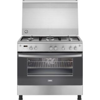 Zanussi Freestanding Digital Gas Cooker COOLMAX, 5 Burners, Stainless Steel, 90 cm - ZCG94396XA
