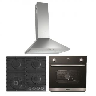 Gorenje Chimney hood 60 cm, stainless steel + Gas hob, 60 cm, black + Gas oven 60 cm with gas grill, black glass