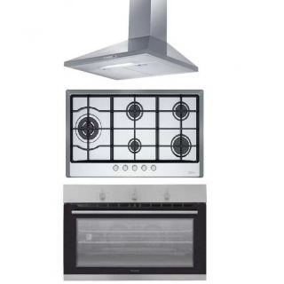 FRANKE KITCHEN CHIMNEY HOOD 90CM 430 M3/H STAINLESS JOY + FRANKE BUILT-IN GAS HOB 5 BURNERS CAST IRON STAINLESS MULTICOOK  + DOMINOX BUILT-IN GAS OVEN 90 CM WITH 2 FANS STAINLESS