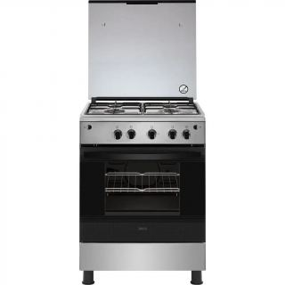 Zanussi Freestanding Gas Cooker, 4 Burners, Silver- ZCG61296XA
