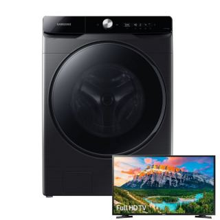 """SAMSUNG WASHING MACHINE 21KG AND 12KG DRYER STEAM INVERTER WD21T6300GV/AS with gift Samsung LED 32"""" TV HD Smart Wireless With Built-In Receiver 32T5300"""