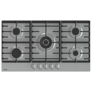 Gorenje Gas hob BUILT IN , 90 cm , stainless steel , 5 burners, front controls , comforting handles , double burner in the middle , cast iron support.  GW9C51X