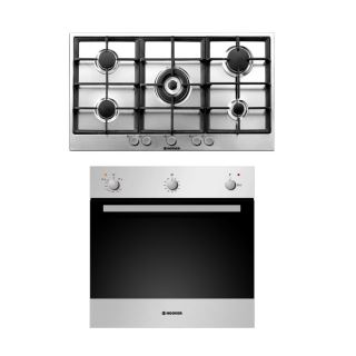 HOOVER Built-In Hob 90 x 60 cm 5 Gas Burners In Stainless Steel Color + Built-In Oven Gas 60 x 60 cm 50 Liter In Stainless Steel Color With Grill and Cooling Fan