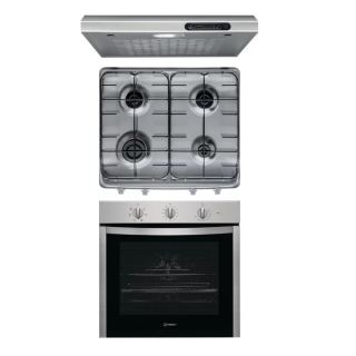 Indesit gas hob 60 cm stainless steel + hood 60cm without chiminey + Electric Oven stainless steel 60 cm  with grill