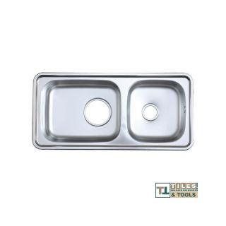 Hans Isd1000 Stainless Steel Kitchen Sink - 2 Bowls +   خلاط هدية
