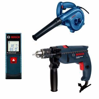 Bosch - GSB 1300 Impact Drill Professional 550 watt + Professional Blower, 620 Watt, Blue/Black - GBL 620 + Laser Measure GLM 20 Professional 20 Meter