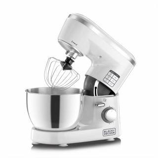 Black & Decker 1000W Stand Mixer, White/Silver - SM1000-B5