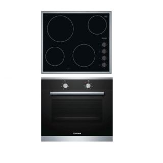 BOSCH BUILT-IN ELECTRIC RADIANT HOB 60 CM WITH KNOB CONTROL BLACK + BOSCH BUILT-IN ELECTRIC OVEN 60 CM 66 LITER WITH GRILL AND FAN BLACK FRONT