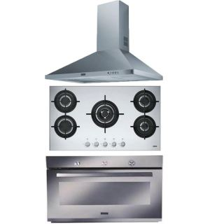 FRANKE BUILT-IN GAS OVEN 90CM ELECTRIC GRILL & CHIMNEY HOOD 90CM 715 M3/H AND HOB 90CM 5 BURNERS FOS 419 G XS LPG *S
