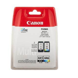 Canon PG-445 Ink Cartridge - Black + CL-446 Tri-Colour Ink Cartridge Multipack