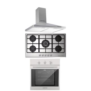 Ecomatic  chiminy hood 90 cm  stainless + hob 90 cm stainless +gas oven 60 cm with gas grill & fan
