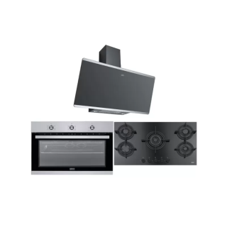 FRANKE KITCHEN HOOD 90 CM 770 M3 / H STAINLESS BLACK + FRANKE BUILT-IN GAS HOB 5 BURNERS CAST IRON CRYSTAL BLACK + DOMINOX BUILT-IN GAS OVEN 90 CM WITH 2 FANS STAINLESS
