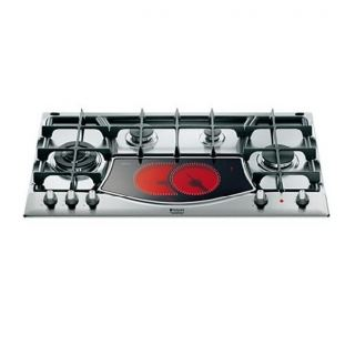 ARISTON BUILT-IN HOB 90 CM 4 GAS BURNERS IRON CAST AND ELECTRIC HALOGEN PLATES RADIANS STAINLESS: PH 941MSTV GH