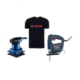 Bosch Professional Orbital Sander, 220 Watt, Blue/Black, GSS 140 + Bosch Professional Jigsaw, 450 Watt, Blue/Black, GST 650 + BOSCH t shirt free