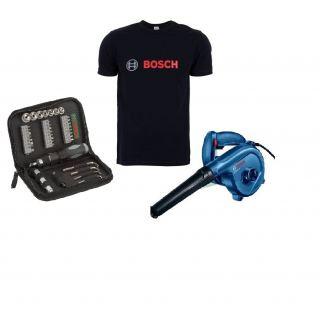 Bosch Professional Blower, 620 Watt, Blue/Black - GBL 620 + Bosch 2 607 019 506 set of Drill Bits , Set of 33 Pieces , X-Line ,  + BOSCH T shirt free
